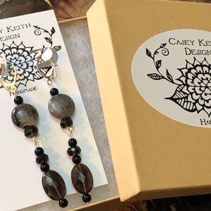 Casey Keith Design Jewelry - Smoky Quartz & Onyx Earrings